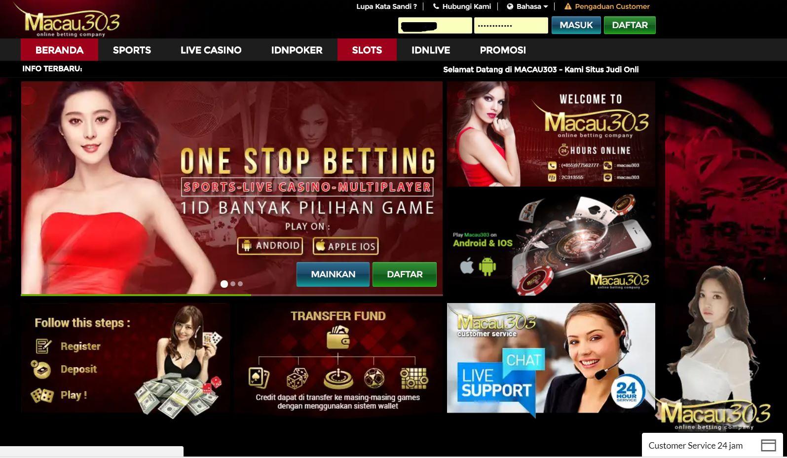 Tampilan Situs Utama Macau303
