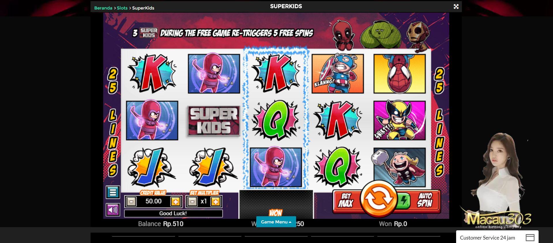 Contoh mesin slot populer di Macau303 : Superboy