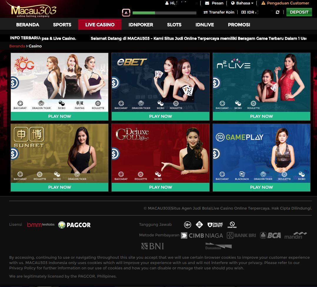 Tampilan Situs Utama Macau303 Live Casino